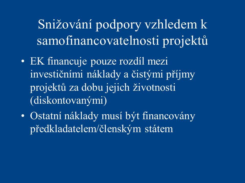 Snižování podpory vzhledem k samofinancovatelnosti projektů EK financuje pouze rozdíl mezi investičními náklady a čistými příjmy projektů za dobu jejich životnosti (diskontovanými) Ostatní náklady musí být financovány předkladatelem/členským státem