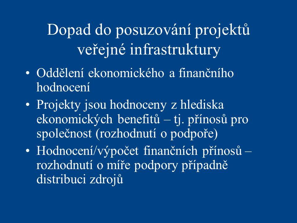 Dopad do posuzování projektů veřejné infrastruktury Oddělení ekonomického a finančního hodnocení Projekty jsou hodnoceny z hlediska ekonomických benefitů – tj.
