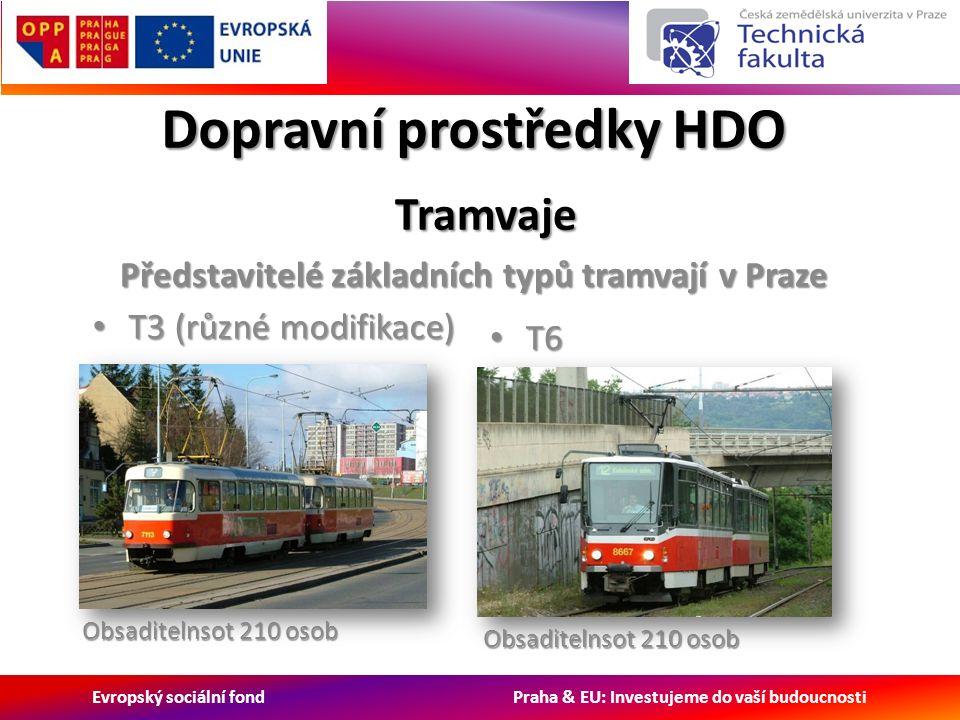 Evropský sociální fond Praha & EU: Investujeme do vaší budoucnosti Dopravní prostředky HDO Tramvaje Tramvaje Představitelé základních typů tramvají v Praze T3 (různé modifikace) T3 (různé modifikace) T6 T6 Obsaditelnsot 210 osob