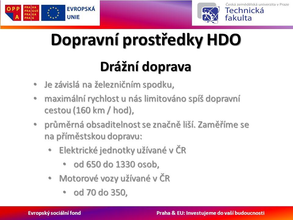 Evropský sociální fond Praha & EU: Investujeme do vaší budoucnosti Dopravní prostředky HDO Drážní doprava Je závislá na železničním spodku, Je závislá na železničním spodku, maximální rychlost u nás limitováno spíš dopravní cestou (160 km / hod), maximální rychlost u nás limitováno spíš dopravní cestou (160 km / hod), průměrná obsaditelnost se značně liší.