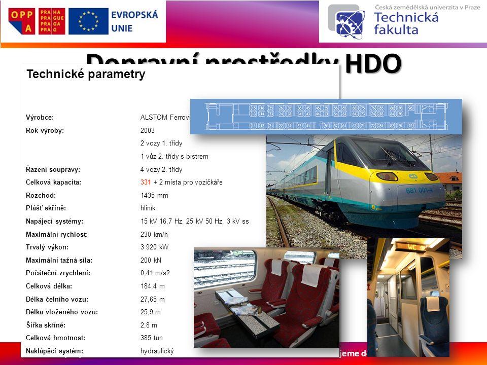 Evropský sociální fond Praha & EU: Investujeme do vaší budoucnosti Dopravní prostředky HDO Drážní doprava Elektrická jednotka Pendolino