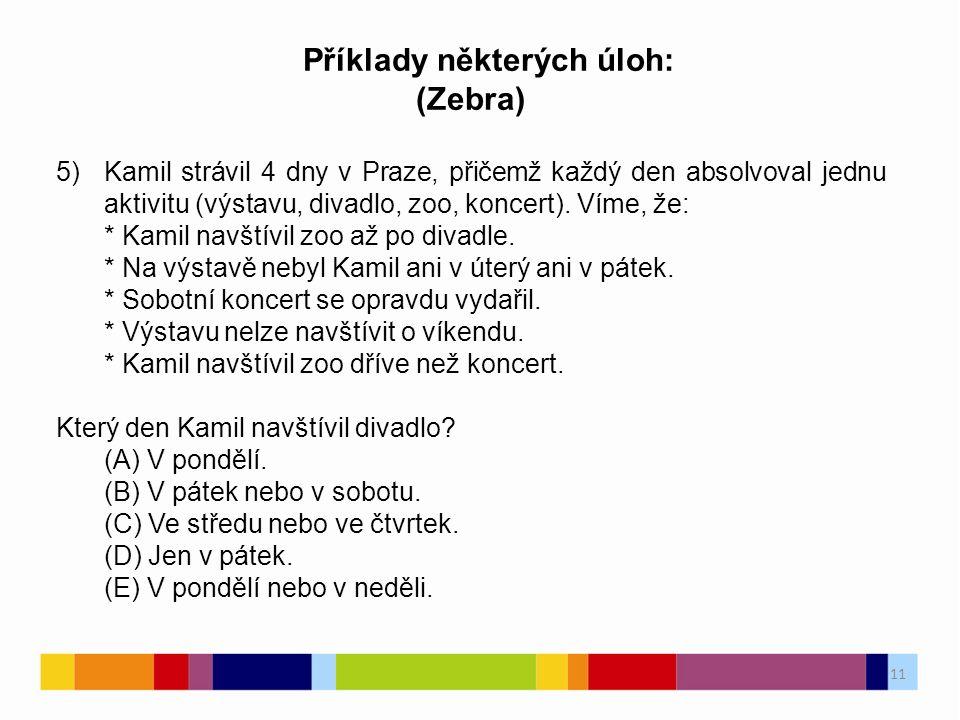 11 Příklady některých úloh: (Zebra) 5)Kamil strávil 4 dny v Praze, přičemž každý den absolvoval jednu aktivitu (výstavu, divadlo, zoo, koncert).