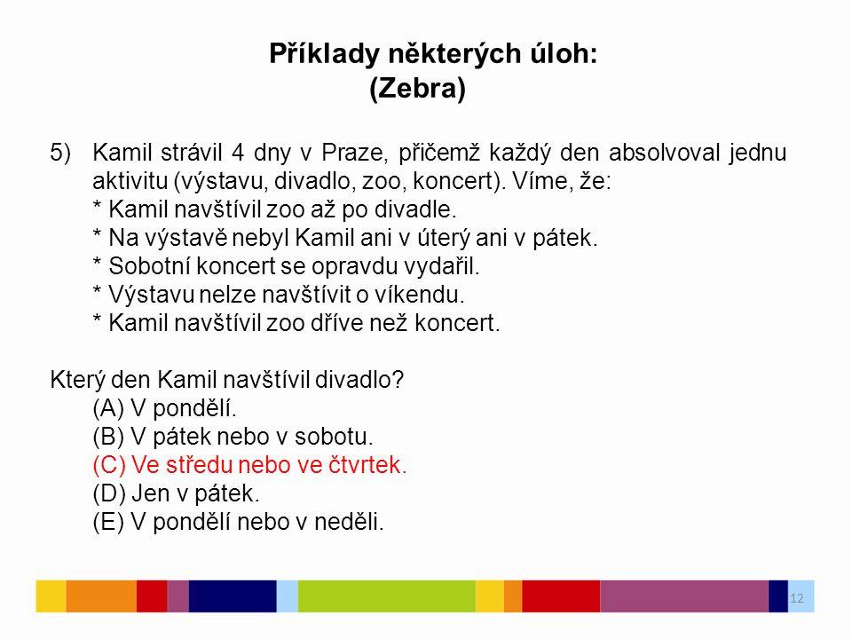 12 Příklady některých úloh: (Zebra) 5)Kamil strávil 4 dny v Praze, přičemž každý den absolvoval jednu aktivitu (výstavu, divadlo, zoo, koncert).