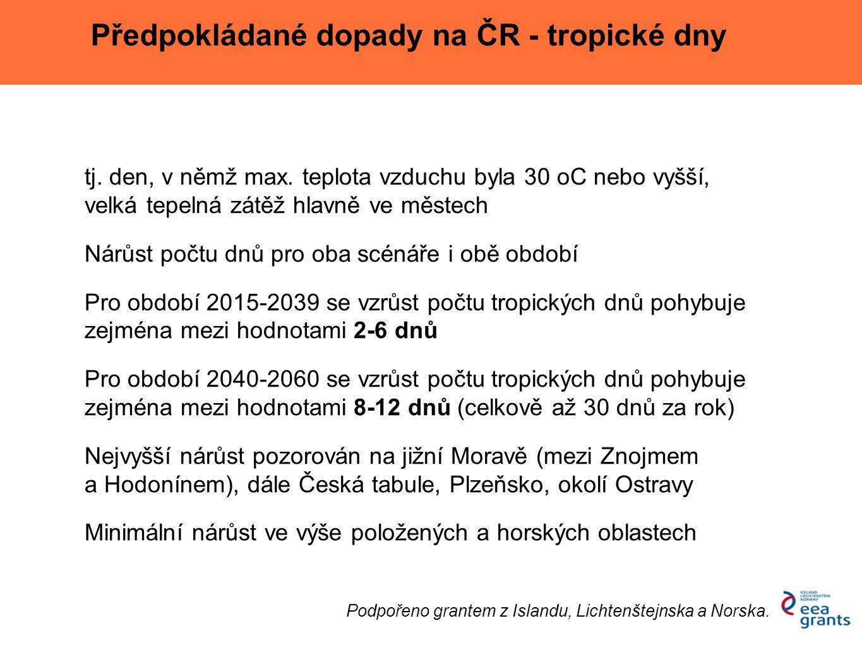Předpokládané dopady - tropické dny Podpořeno grantem z Islandu, Lichtenštejnska a Norska.
