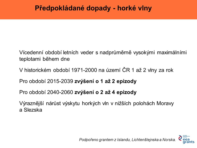 Vícedenní období letních veder s nadprůměrně vysokými maximálními teplotami během dne V historickém období 1971-2000 na území ČR 1 až 2 vlny za rok Pr