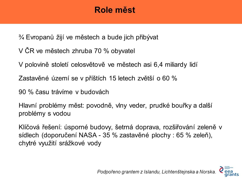 ¾ Evropanů žijí ve městech a bude jich přibývat V ČR ve městech zhruba 70 % obyvatel V polovině století celosvětově ve městech asi 6,4 miliardy lidí Z