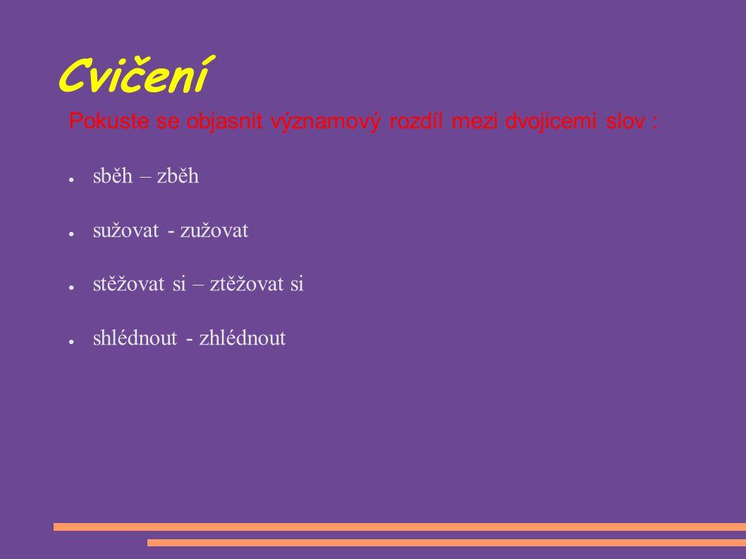 Cvičení Pokuste se objasnit významový rozdíl mezi dvojicemi slov : ●s●sběh – zběh ●s●sužovat - zužovat ●s●stěžovat si – ztěžovat si ●s●shlédnout - zhlédnout