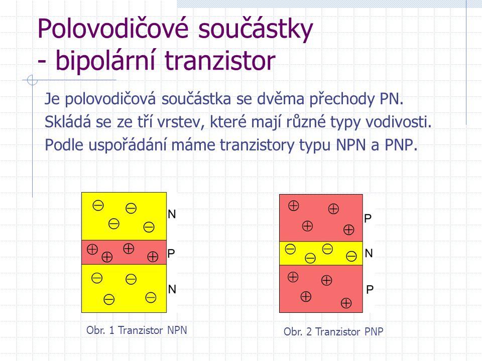 Polovodičové součástky - bipolární tranzistor Je polovodičová součástka se dvěma přechody PN.