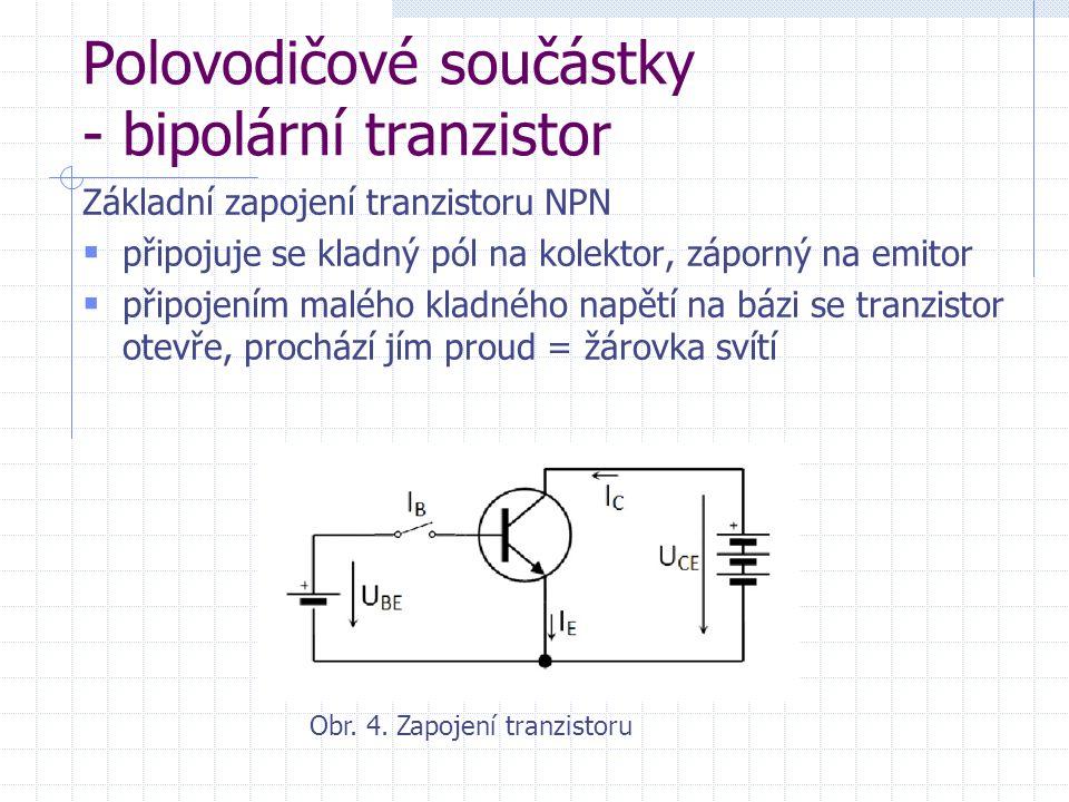 Polovodičové součástky - bipolární tranzistor Základní zapojení tranzistoru NPN  připojuje se kladný pól na kolektor, záporný na emitor  připojením malého kladného napětí na bázi se tranzistor otevře, prochází jím proud = žárovka svítí Obr.