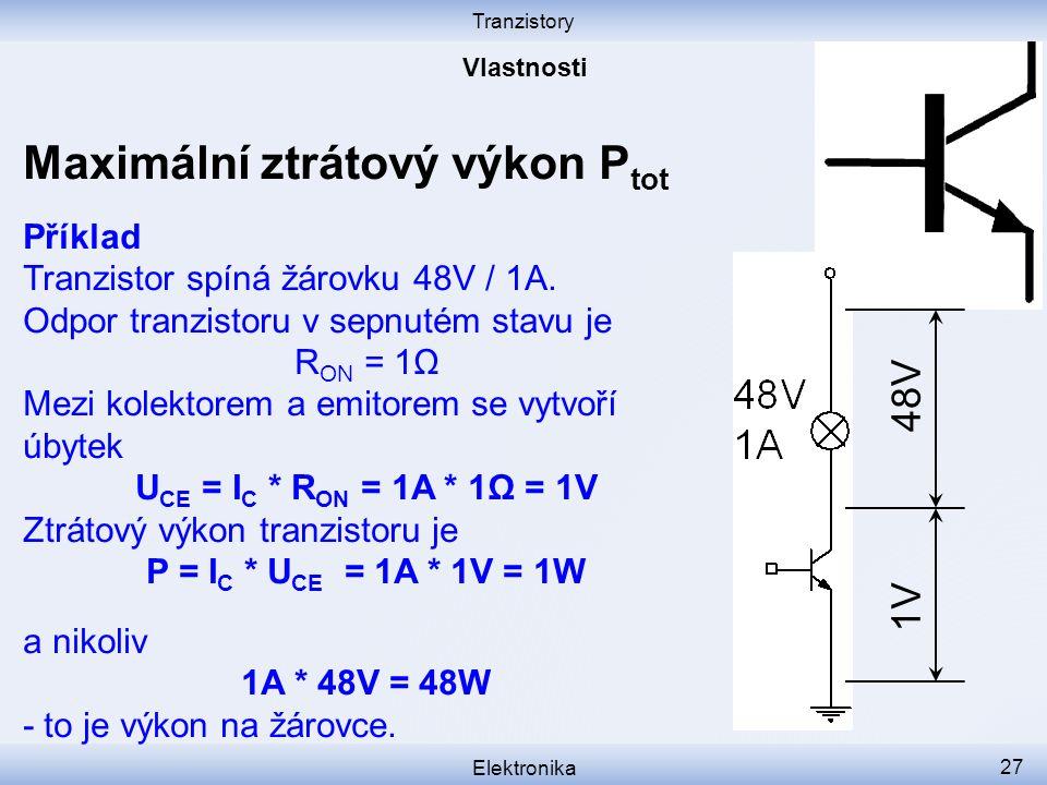 Tranzistory Elektronika 27 Maximální ztrátový výkon P tot Příklad Tranzistor spíná žárovku 48V / 1A. Odpor tranzistoru v sepnutém stavu je R ON = 1Ω M