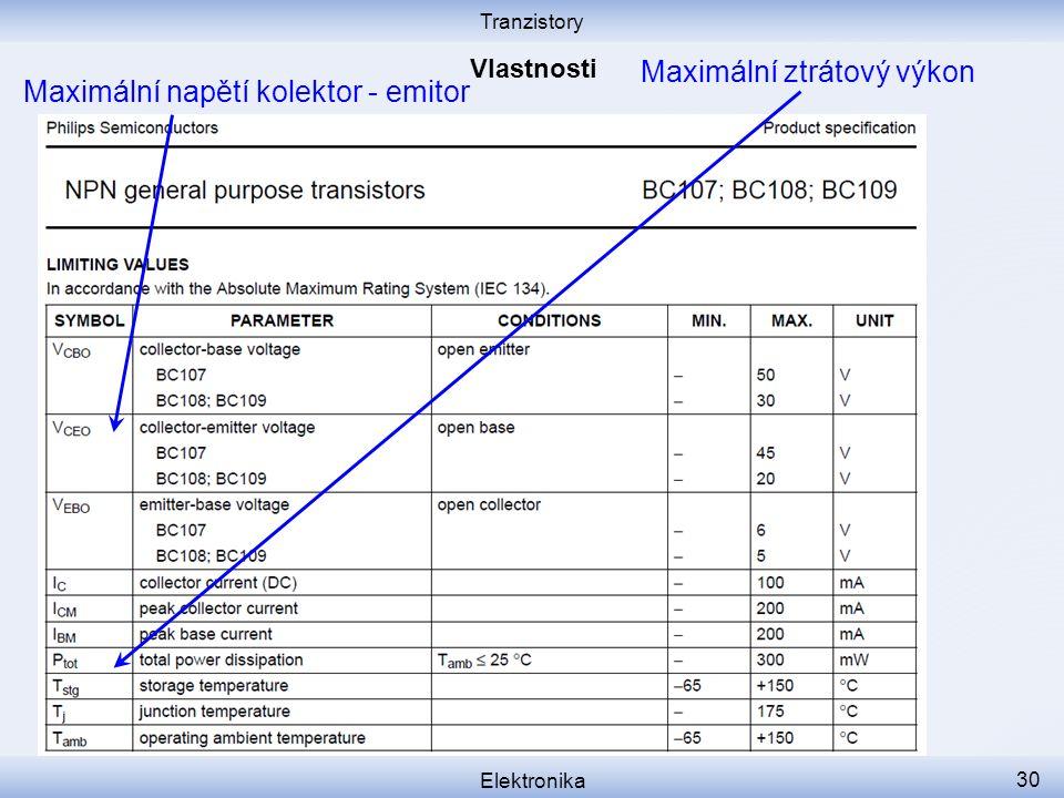 Tranzistory Elektronika 30 Maximální ztrátový výkon Maximální napětí kolektor - emitor