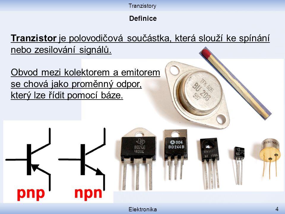 Tranzistory Elektronika 4 Tranzistor je polovodičová součástka, která slouží ke spínání nebo zesilování signálů.
