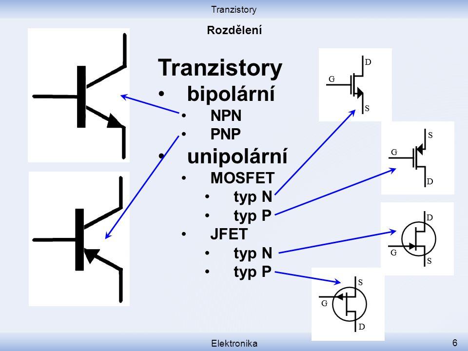 Tranzistory Elektronika 7 Tranzistory bipolární NPN PNP Jsou řízeny proudem do báze.