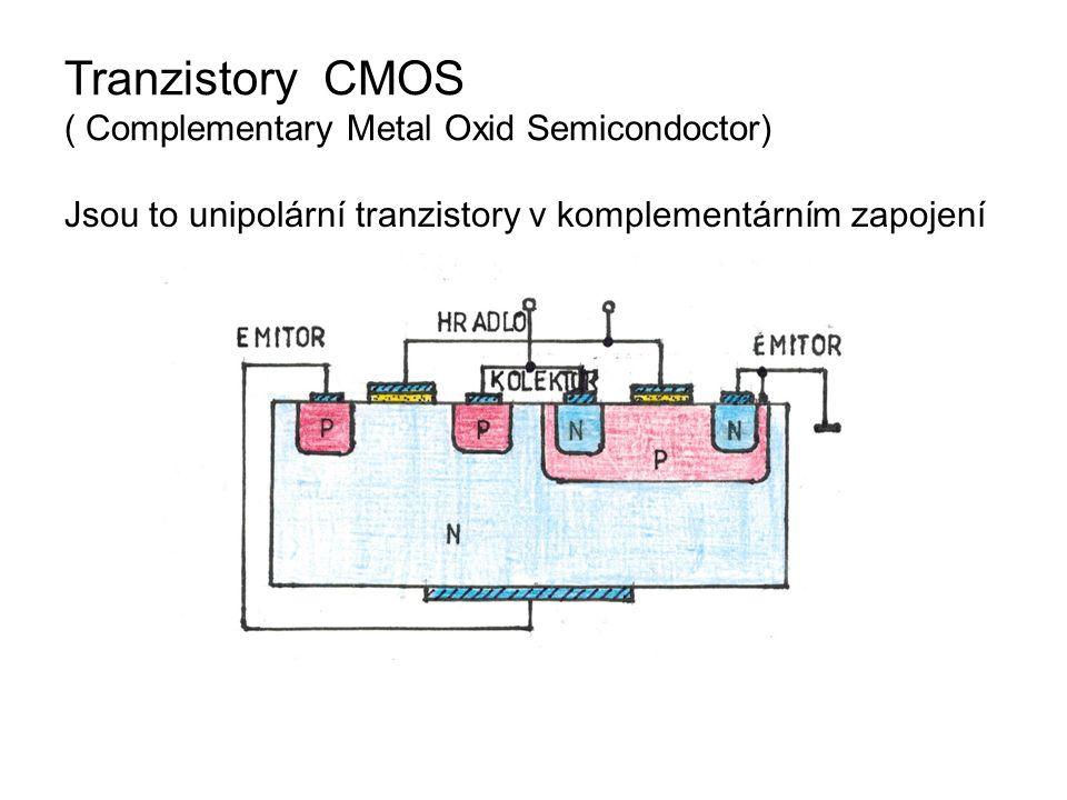 Tranzistory CMOS ( Complementary Metal Oxid Semicondoctor) Jsou to unipolární tranzistory v komplementárním zapojení