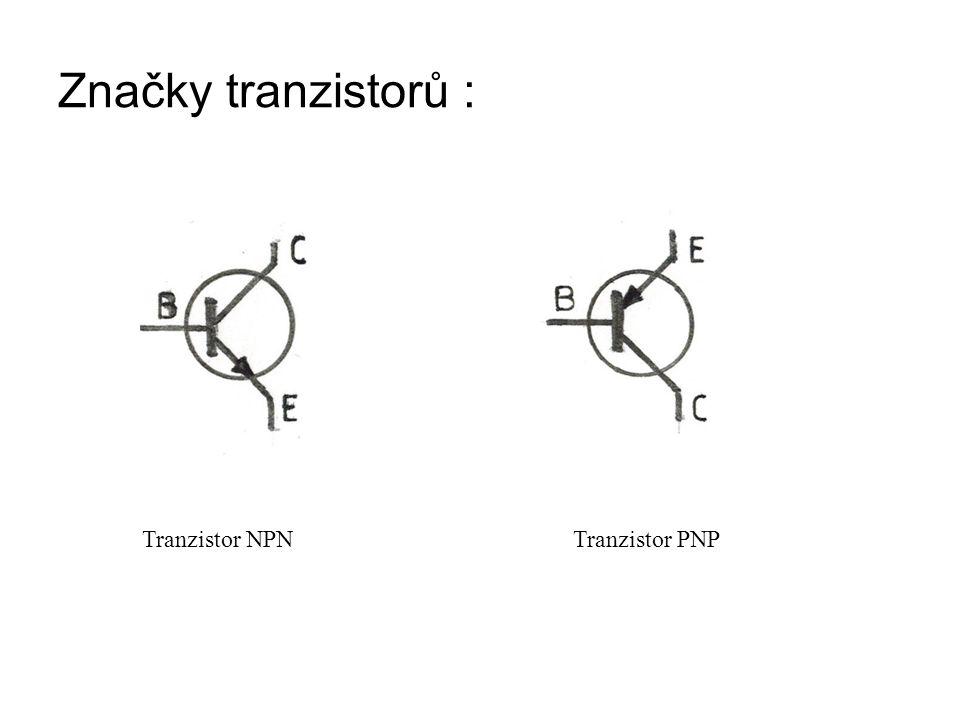 Vlastnosti tranzistoru : Při zapojení kolektoru a emitoru na napětí je tranzistor v nevodivém stavu (jeden z přechodů PN je nevodivý ) Do vodivého stavu se tranzistor přivede při- vedením kladného napětí na bázi u tranzistoru NPN a záporného napětí u tranzistoru PNP.