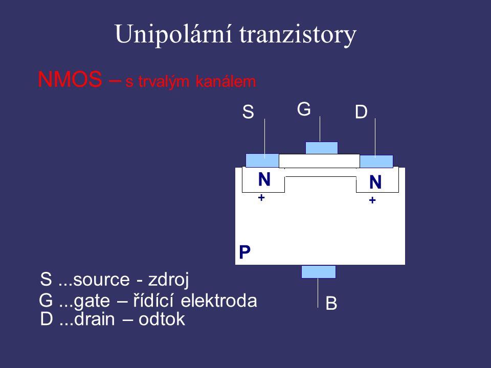 Unipolární tranzistory NMOS – s trvalým kanálem S...source - zdroj G...gate – řídící elektroda D...drain – odtok G D S B P N+N+ N+N+ ▄ ▄ ▄ ▄ ▄