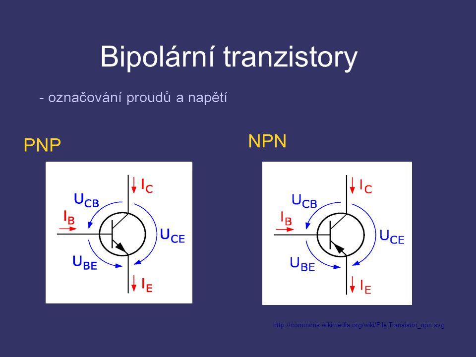 Bipolární tranzistory šířka báze musí být daleko menší, než šířka emitoru a kolektoru koncentrace příměsí v emitoru je mnohem vyšší než koncentrace příměsí v bázi plocha kolektoru je větší než plocha emitoru doba života menšinových nosičů je delší než doba potřebná pro přechod z emitoru do kolektoru Technologické podmínky správné funkce tranzistoru:
