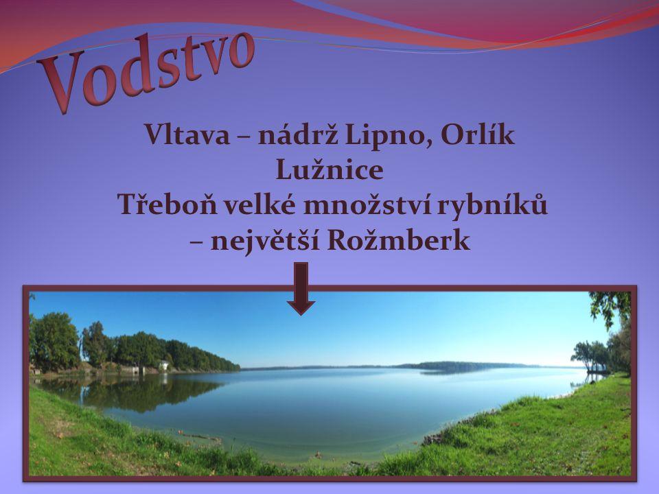 Vltava – nádrž Lipno, Orlík Lužnice Třeboň velké množství rybníků – největší Rožmberk