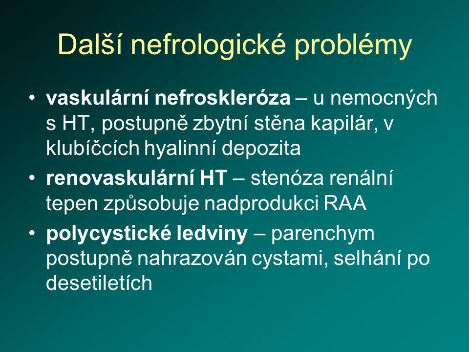 Další nefrologické problémy vaskulární nefroskleróza – u nemocných s HT, postupně zbytní stěna kapilár, v klubíčcích hyalinní depozita renovaskulární
