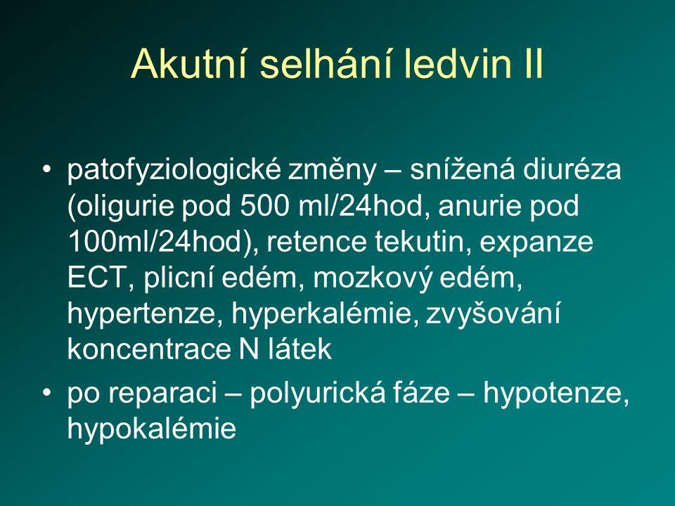 Akutní selhání ledvin II patofyziologické změny – snížená diuréza (oligurie pod 500 ml/24hod, anurie pod 100ml/24hod), retence tekutin, expanze ECT, p
