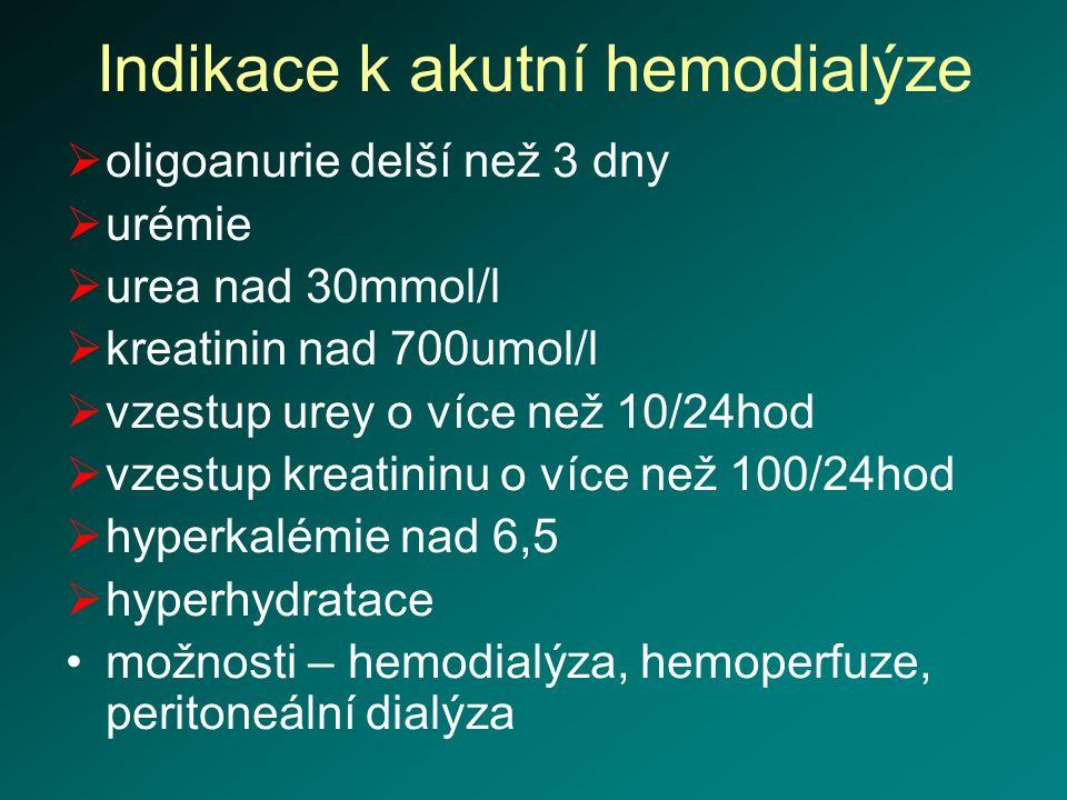 Indikace k akutní hemodialýze  oligoanurie delší než 3 dny  urémie  urea nad 30mmol/l  kreatinin nad 700umol/l  vzestup urey o více než 10/24hod