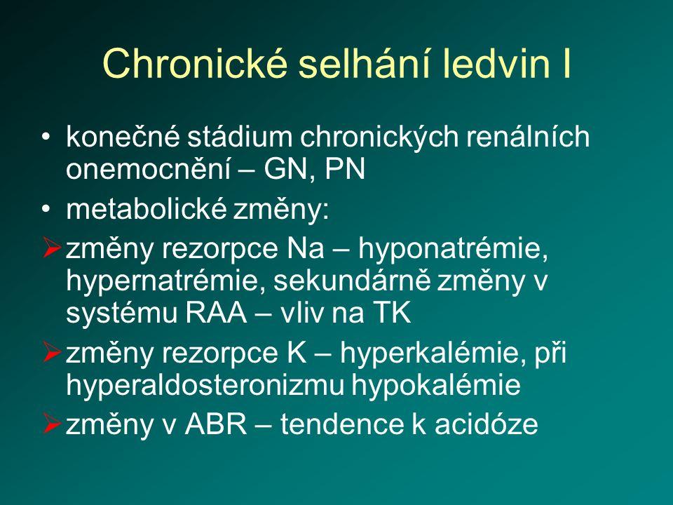 Chronické selhání ledvin I konečné stádium chronických renálních onemocnění – GN, PN metabolické změny:  změny rezorpce Na – hyponatrémie, hypernatré