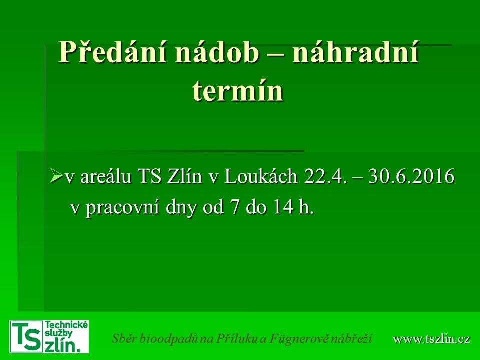 Předání nádob – náhradní termín  v areálu TS Zlín v Loukách 22.4.