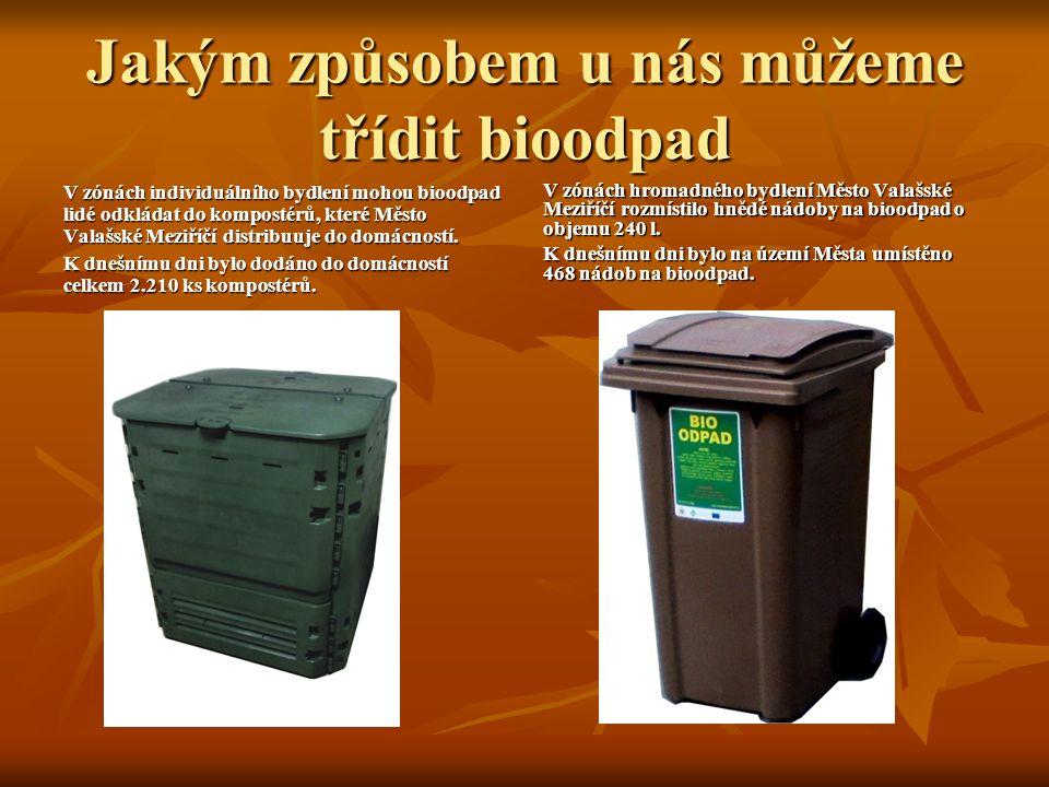 Jakým způsobem u nás můžeme třídit bioodpad V zónách individuálního bydlení mohou bioodpad lidé odkládat do kompostérů, které Město Valašské Meziříčí distribuuje do domácností.