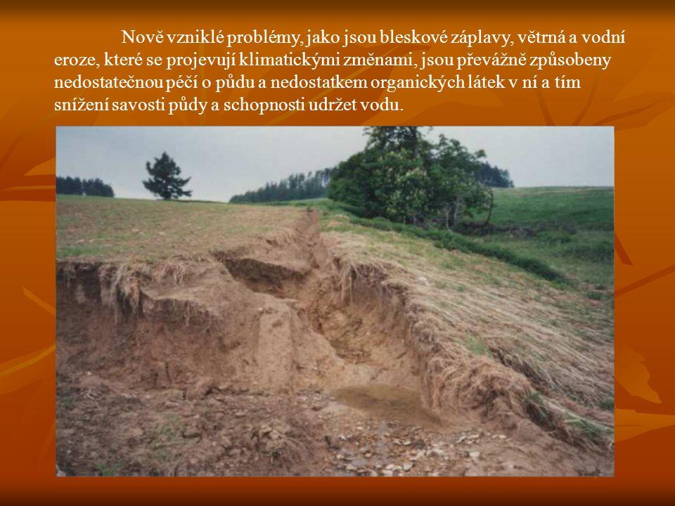 Nově vzniklé problémy, jako jsou bleskové záplavy, větrná a vodní eroze, které se projevují klimatickými změnami, jsou převážně způsobeny nedostatečnou péčí o půdu a nedostatkem organických látek v ní a tím snížení savosti půdy a schopnosti udržet vodu.