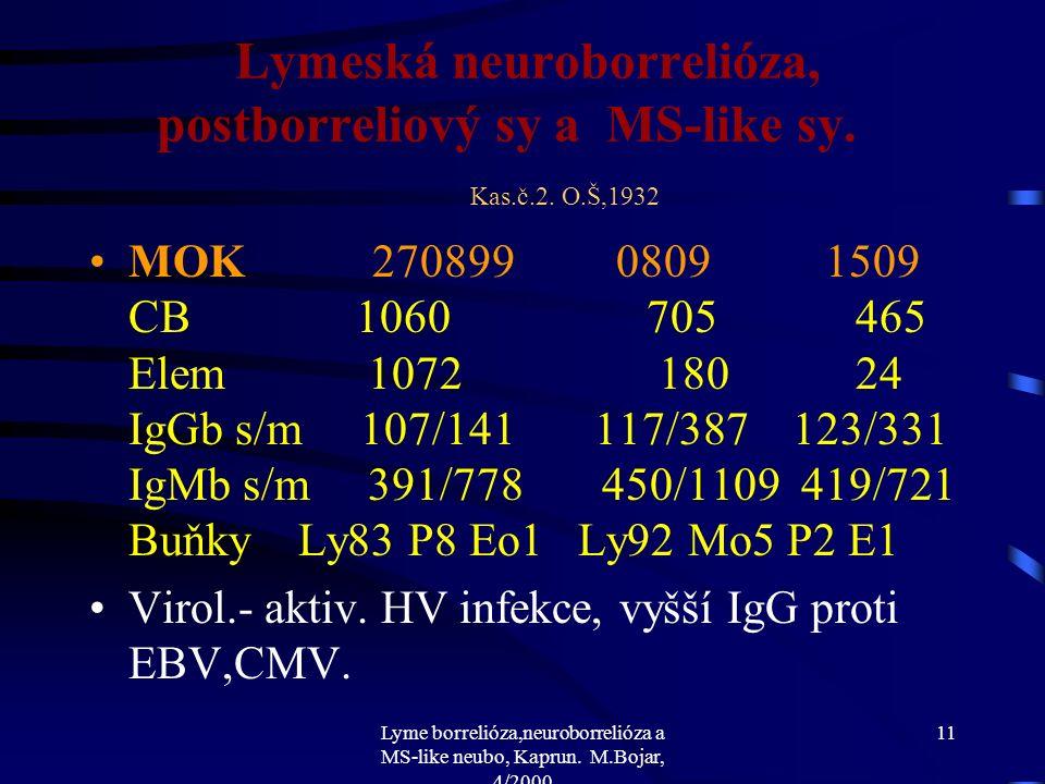 Lyme borrelióza,neuroborrelióza a MS-like neubo, Kaprun. M.Bojar, 4/2000 10 Lymeská neuroborrelióza, postborreliový sy a MS-like sy. Kas.č.2. O.Š,1932