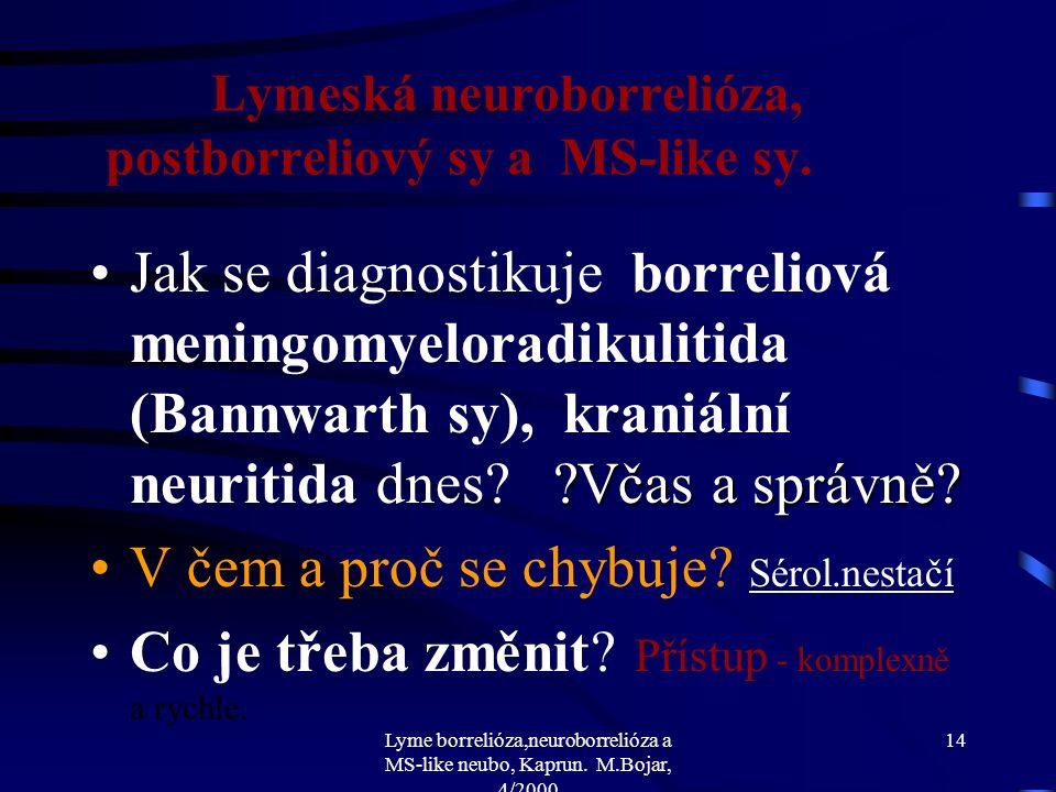 "Lyme borrelióza,neuroborrelióza a MS-like neubo, Kaprun. M.Bojar, 4/2000 13 Lymeská neuroborrelióza, postborreliový sy a MS-like sy. Co se ""séronegati"