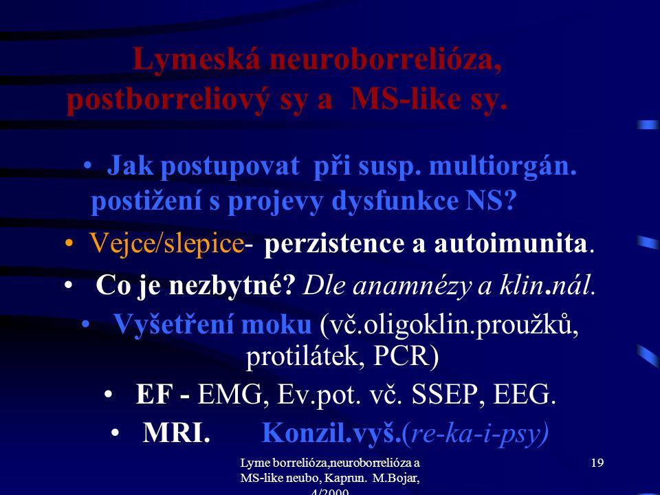 Lyme borrelióza,neuroborrelióza a MS-like neubo, Kaprun. M.Bojar, 4/2000 18 Lymeská neuroborrelióza, postborreliový sy a MS-like sy. Jak diagnostikova