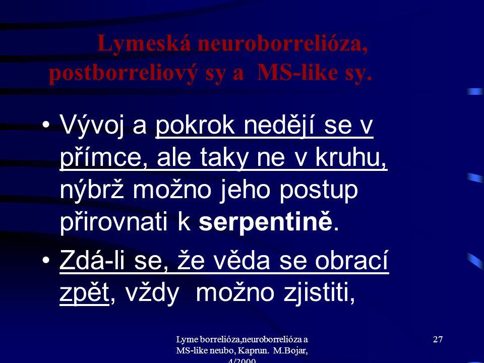 Lyme borrelióza,neuroborrelióza a MS-like neubo, Kaprun. M.Bojar, 4/2000 26 Lymeská neuroborrelióza, postborreliový sy a MS-like sy. Kas.č.5., J.L.,19