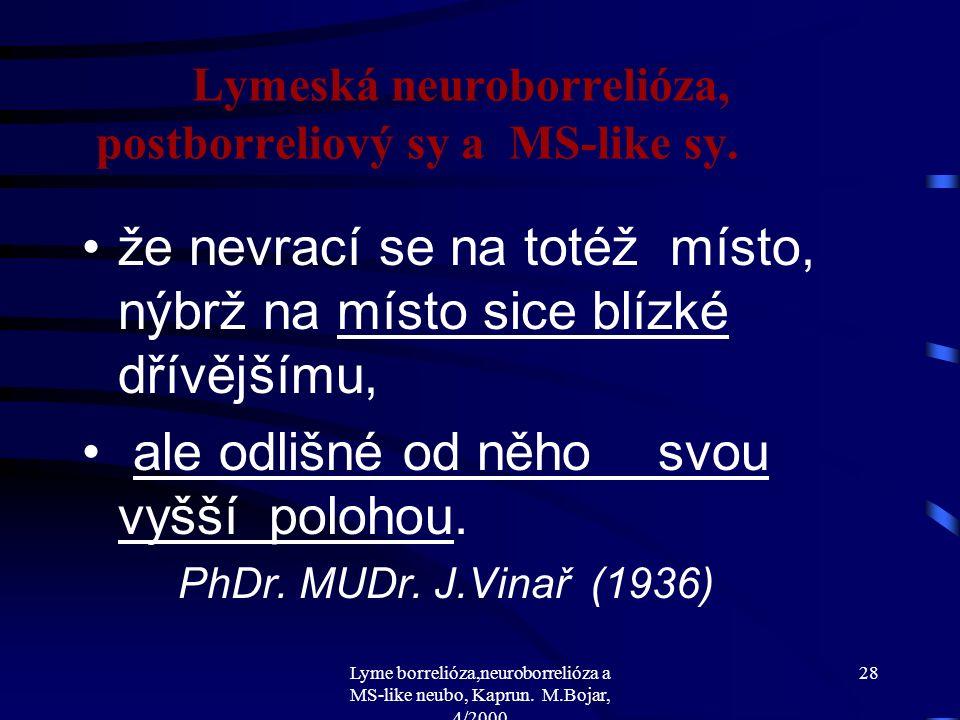 Lyme borrelióza,neuroborrelióza a MS-like neubo, Kaprun. M.Bojar, 4/2000 27 Lymeská neuroborrelióza, postborreliový sy a MS-like sy. Vývoj a pokrok ne