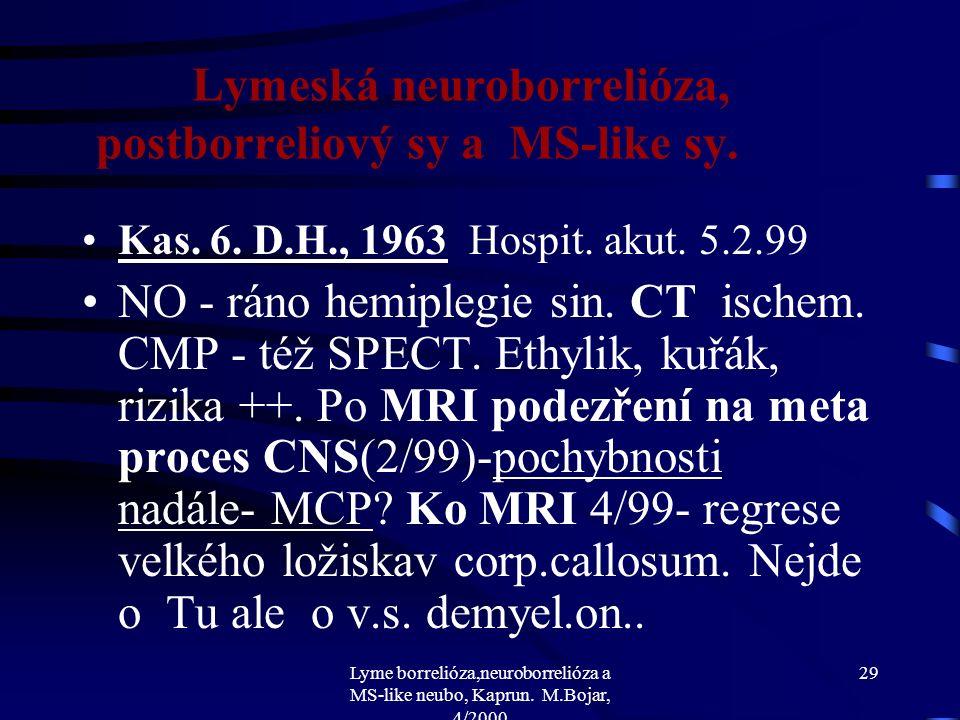 Lyme borrelióza,neuroborrelióza a MS-like neubo, Kaprun. M.Bojar, 4/2000 28 Lymeská neuroborrelióza, postborreliový sy a MS-like sy. že nevrací se na