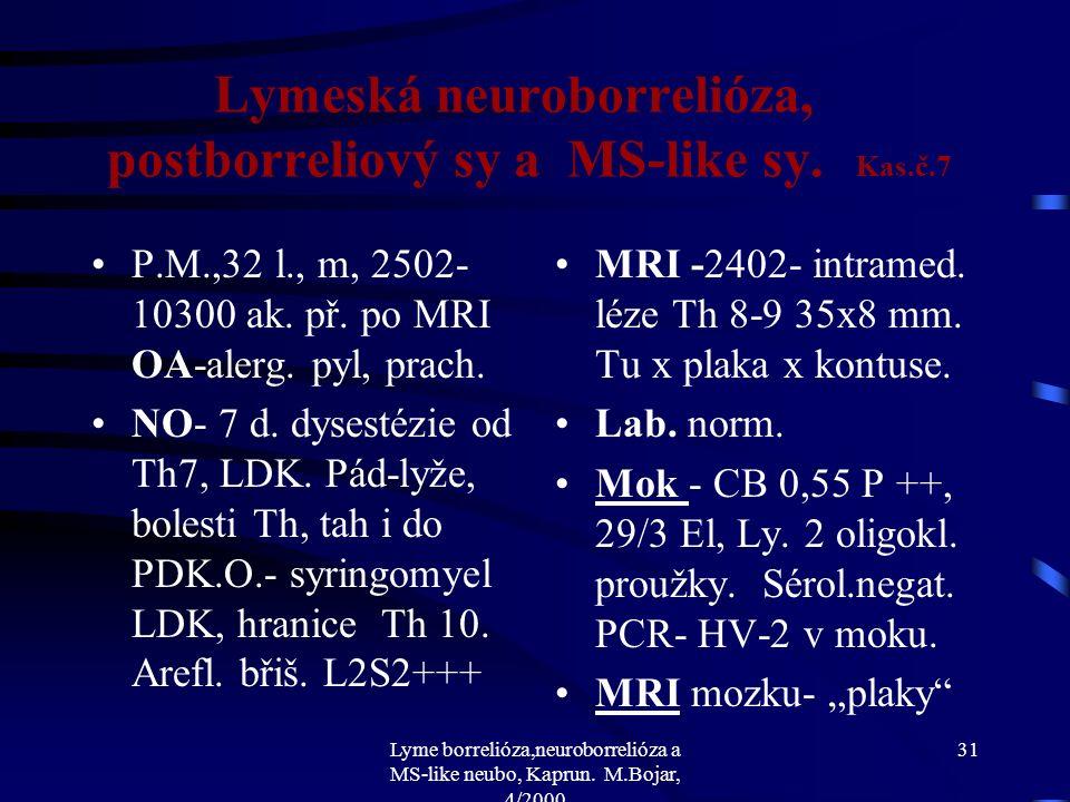 Lyme borrelióza,neuroborrelióza a MS-like neubo, Kaprun. M.Bojar, 4/2000 30 Lymeská neuroborrelióza, postborreliový sy a MS-like sy. Df.dg.-Tu x RS s