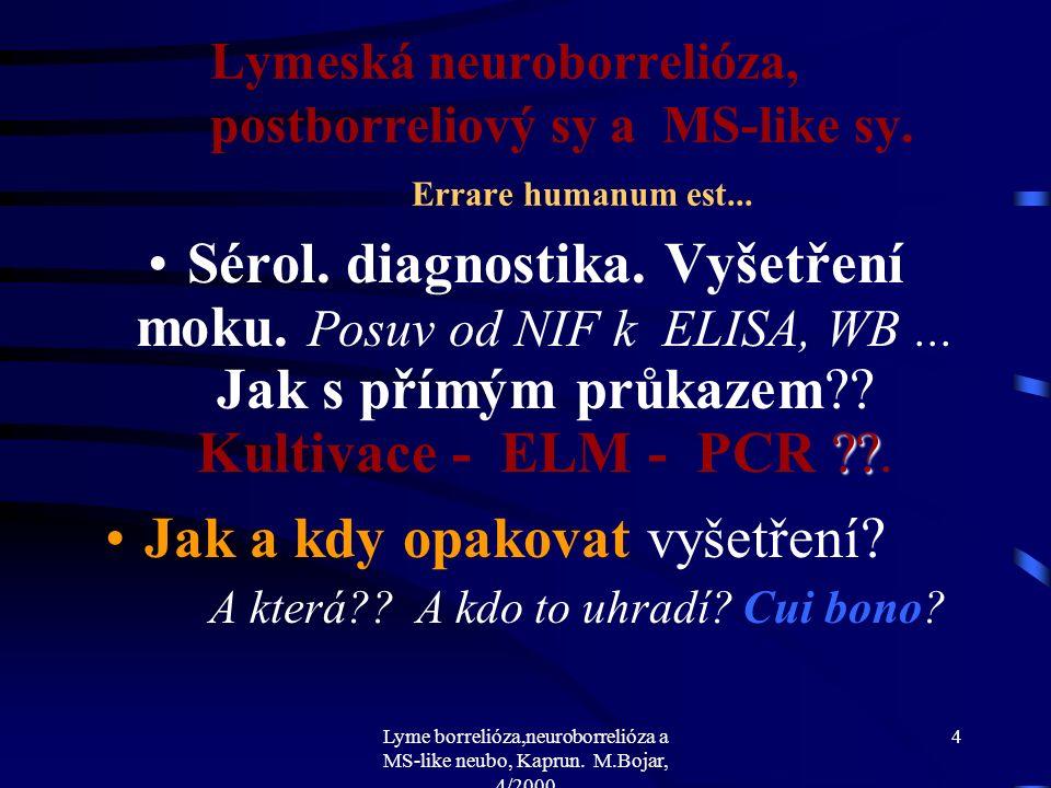 Lyme borrelióza,neuroborrelióza a MS-like neubo, Kaprun. M.Bojar, 4/2000 3 Lymeská neuroborrelióza, postborreliový sy a MS-like sy. Errare humanum est