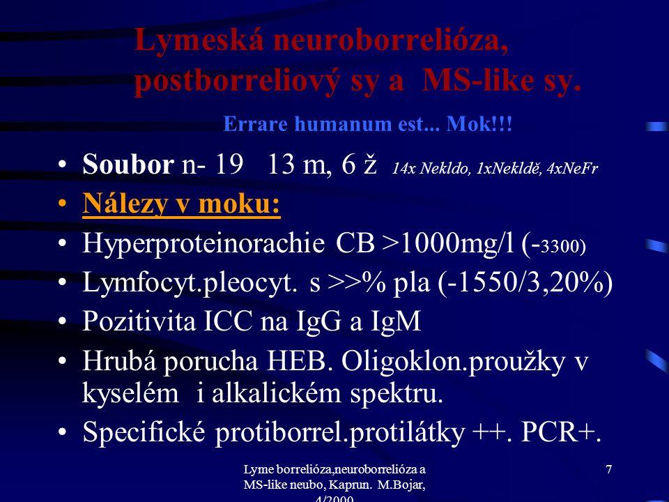 Lyme borrelióza,neuroborrelióza a MS-like neubo, Kaprun. M.Bojar, 4/2000 6 Lymeská neuroborrelióza, postborreliový sy a MS-like sy. Errare humanum est