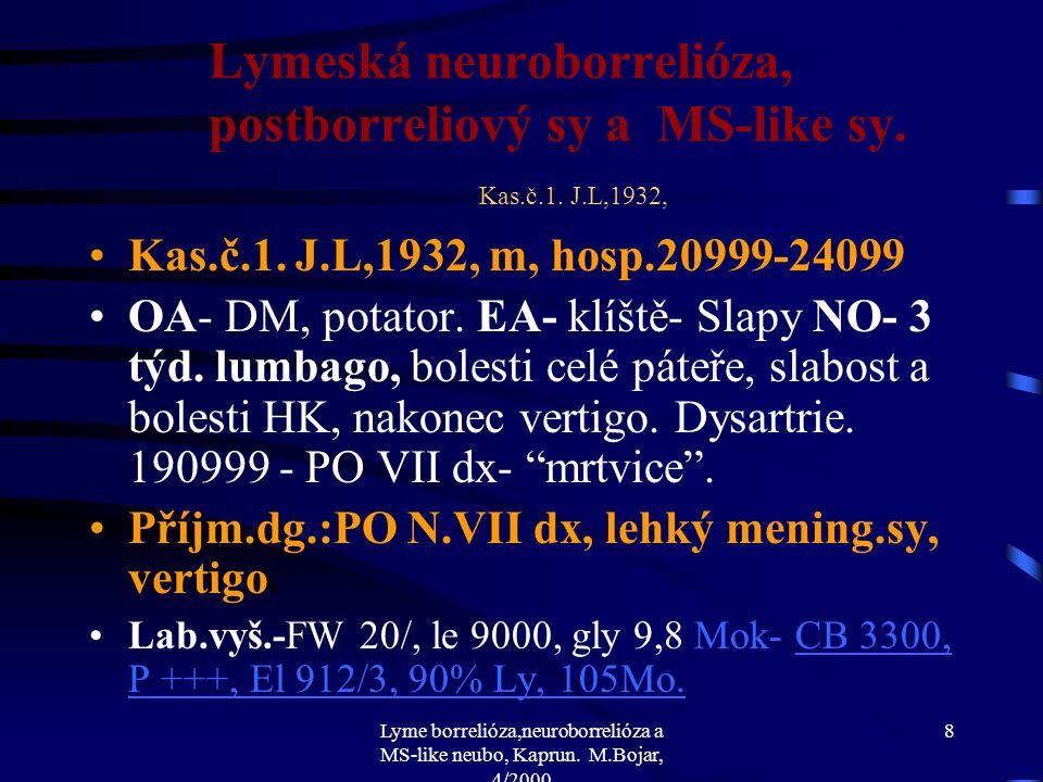 Lyme borrelióza,neuroborrelióza a MS-like neubo, Kaprun. M.Bojar, 4/2000 7 Lymeská neuroborrelióza, postborreliový sy a MS-like sy. Errare humanum est