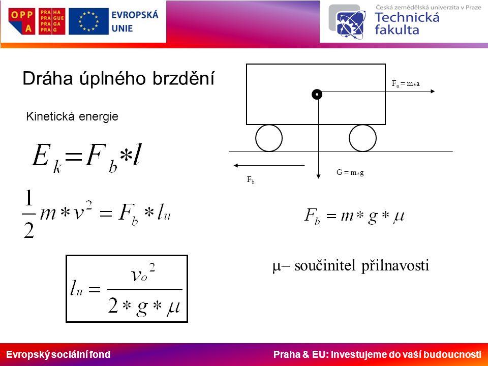 Evropský sociální fond Praha & EU: Investujeme do vaší budoucnosti Dráha úplného brzdění F a = m * a FbFb G = m * g Kinetická energie  součinitel přilnavosti