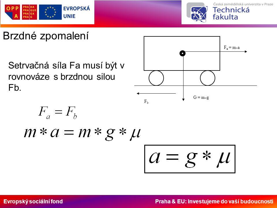 Evropský sociální fond Praha & EU: Investujeme do vaší budoucnosti Brzdné zpomalení F a = m * a FbFb G = m * g Setrvačná síla Fa musí být v rovnováze s brzdnou silou Fb.