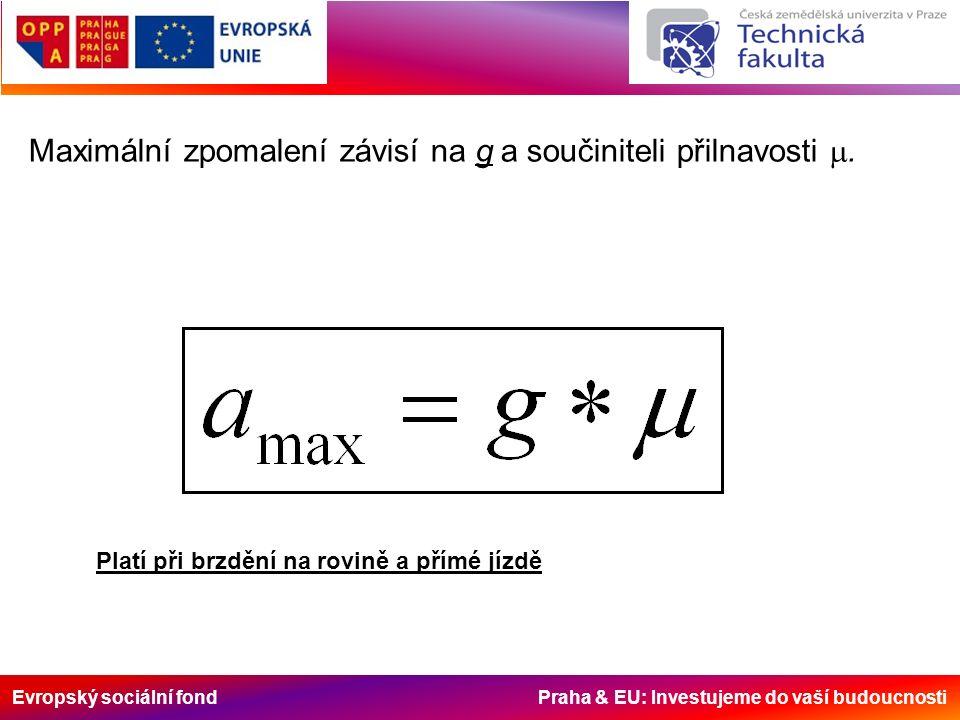 Evropský sociální fond Praha & EU: Investujeme do vaší budoucnosti Maximální zpomalení závisí na g  a  součiniteli přilnavosti .