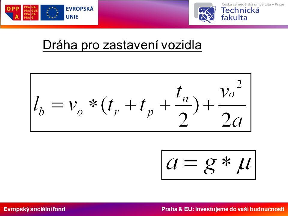 Evropský sociální fond Praha & EU: Investujeme do vaší budoucnosti Dráha pro zastavení vozidla