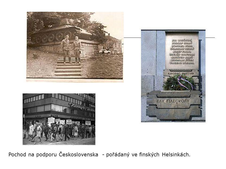 Pochod na podporu Československa - pořádaný ve finských Helsinkách.