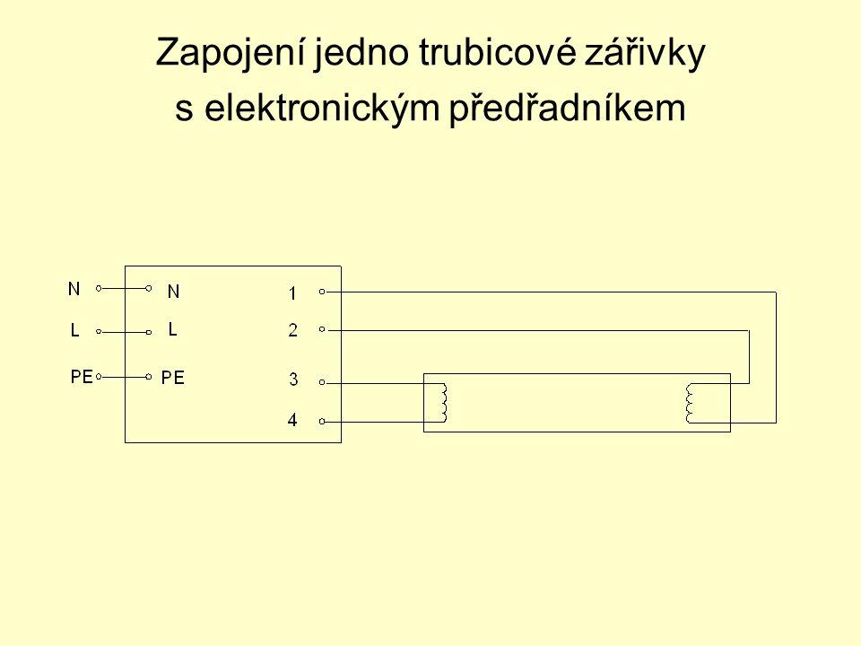 Zapojení jedno trubicové zářivky s elektronickým předřadníkem