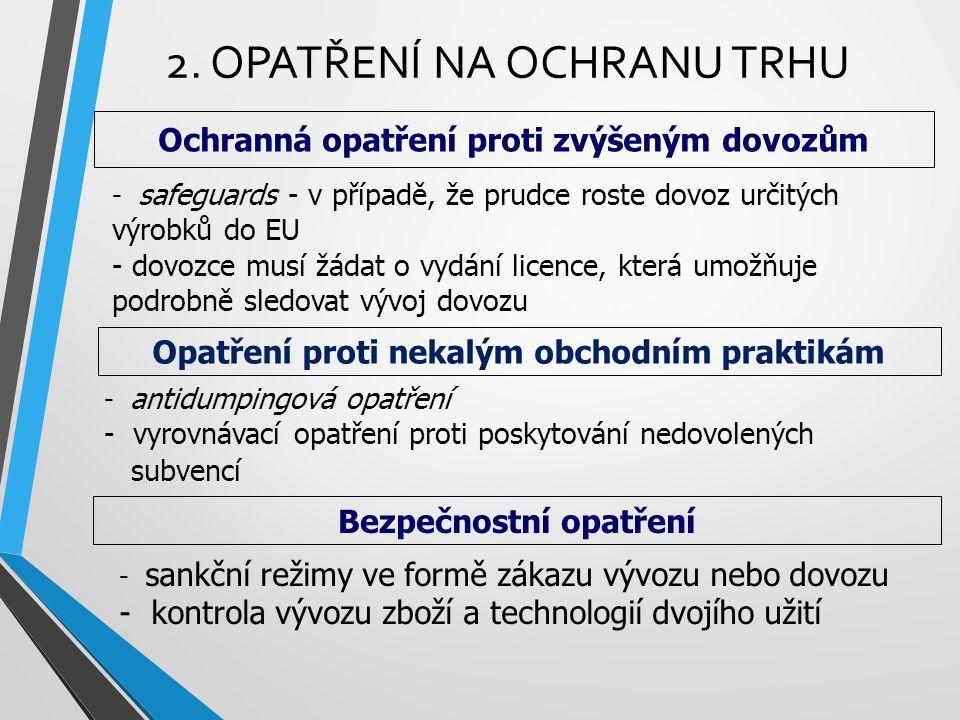 2. OPATŘENÍ NA OCHRANU TRHU Ochranná opatření proti zvýšeným dovozům - safeguards - v případě, že prudce roste dovoz určitých výrobků do EU - dovozce