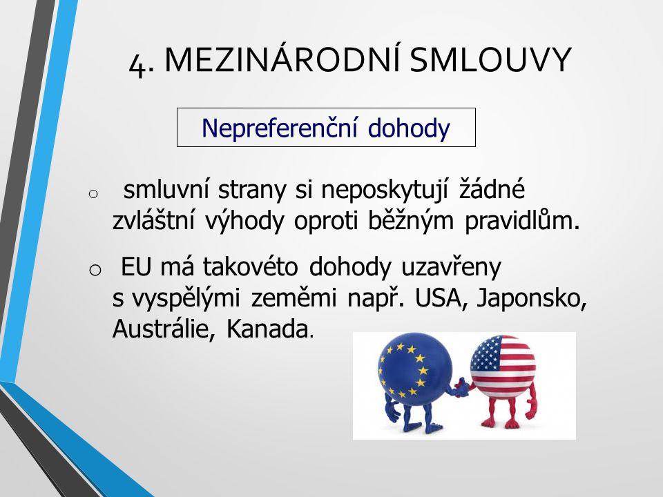 4. MEZINÁRODNÍ SMLOUVY Nepreferenční dohody o smluvní strany si neposkytují žádné zvláštní výhody oproti běžným pravidlům. o EU má takovéto dohody uza