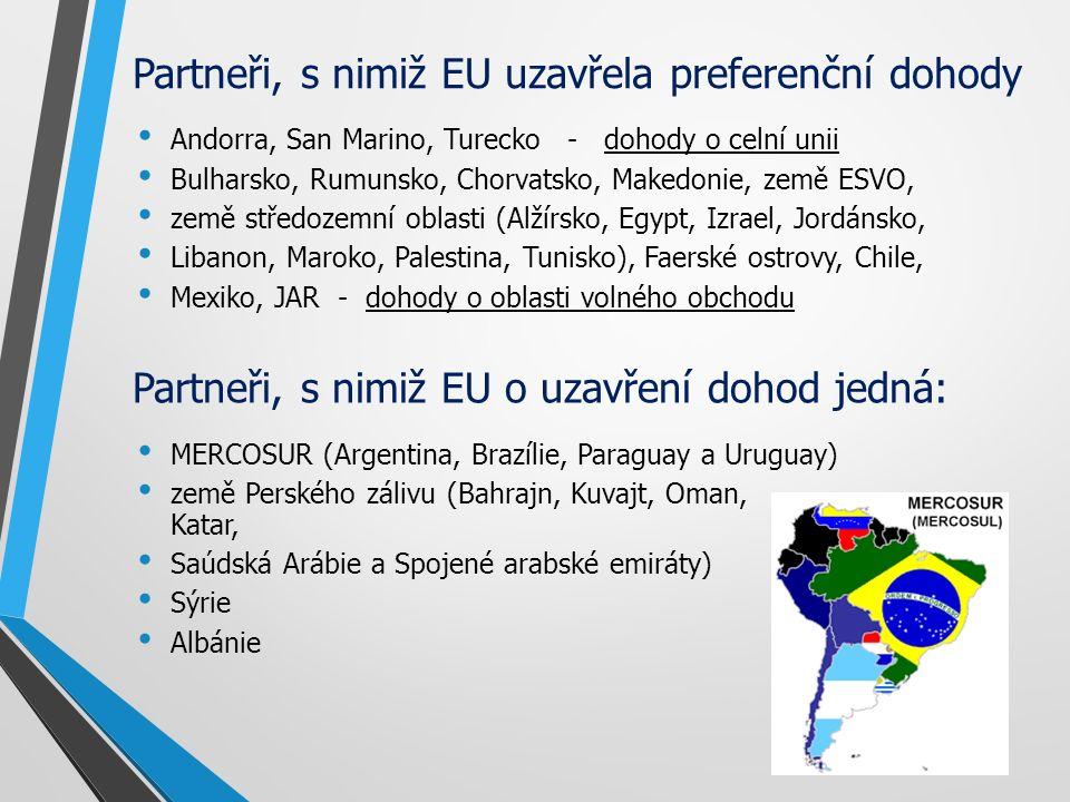 Partneři, s nimiž EU uzavřela preferenční dohody Andorra, San Marino, Turecko - dohody o celní unii Bulharsko, Rumunsko, Chorvatsko, Makedonie, země ESVO, země středozemní oblasti (Alžírsko, Egypt, Izrael, Jordánsko, Libanon, Maroko, Palestina, Tunisko), Faerské ostrovy, Chile, Mexiko, JAR - dohody o oblasti volného obchodu MERCOSUR (Argentina, Brazílie, Paraguay a Uruguay) země Perského zálivu (Bahrajn, Kuvajt, Oman, Katar, Saúdská Arábie a Spojené arabské emiráty) Sýrie Albánie Partneři, s nimiž EU o uzavření dohod jedná: