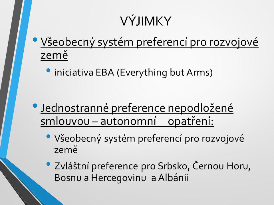 VÝJIMKY Všeobecný systém preferencí pro rozvojové země iniciativa EBA (Everything but Arms) Jednostranné preference nepodložené smlouvou – autonomní opatření: Všeobecný systém preferencí pro rozvojové země Zvláštní preference pro Srbsko, Černou Horu, Bosnu a Hercegovinu a Albánii