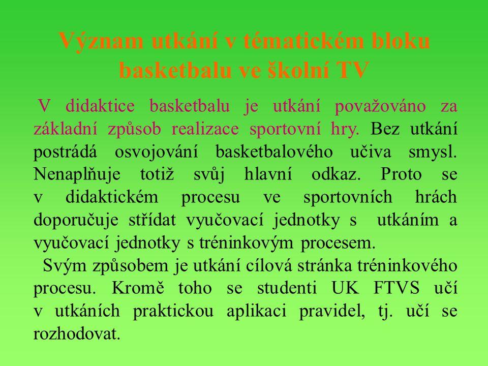 Význam utkání v tématickém bloku basketbalu ve školní TV V didaktice basketbalu je utkání považováno za základní způsob realizace sportovní hry.
